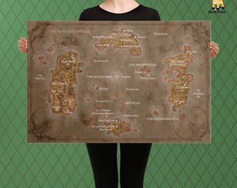Azeroth etsy world of warcraft inspired vintage world map unofficial map of azeroth fan custom gumiabroncs Gallery