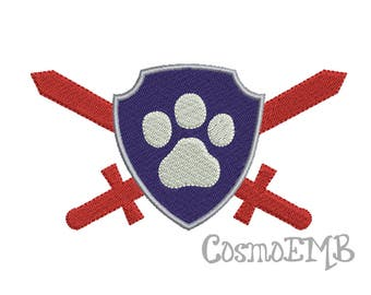 7 Size  PAW Patrol Flag Embroidery design  Machine Embroidery - Digital INSTANT DOWNLOAD