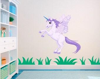 Purple Unicorn Pony horse Nursery Childs Bedroom Vinyl Wall Art Sticker