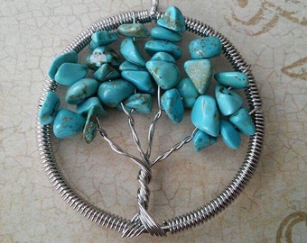 Turquoise Tree of Life Pendant, Handmade, Tree of Knowledge