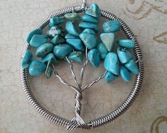 Turquoise Tree of Life Pendant, Handmade, Tree of Knowledge