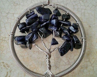 Midnight Blue Goldstone Tree of Life Pendant, Handmade, Tree of Knowledge