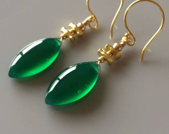 Green Onyx Smooth Drop Earrings with Vermeil Gold