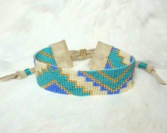 Adjustable Native American Loom beaded bracelet