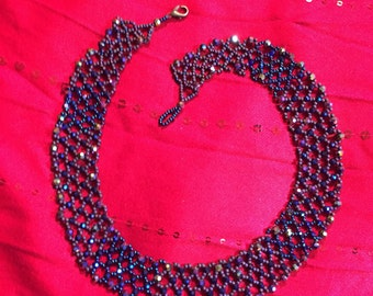 Blue Sparkle Netting Collar Necklace