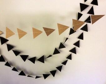 Triangle Paper Garland | Black | Kraft Paper | Monochrome | Neutral | Bunting | Weddings, Baby Shower, Home Decor, Birthday, Geometric