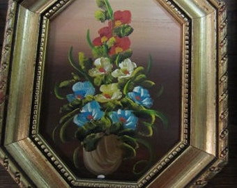 Flowers painting Italy oil on copper