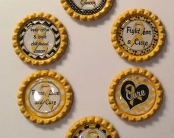 Handmade CHILDHOOD CANCER BottleCap Magnets, Set of 6.