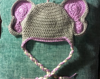 Crochet baby elephant hat.  Can be customized to any size/color.