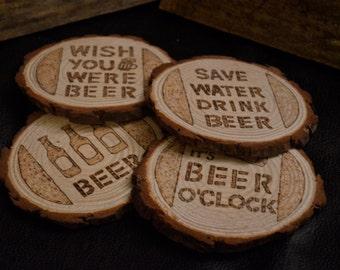 Woodburned Beer Coasters - Set of 4