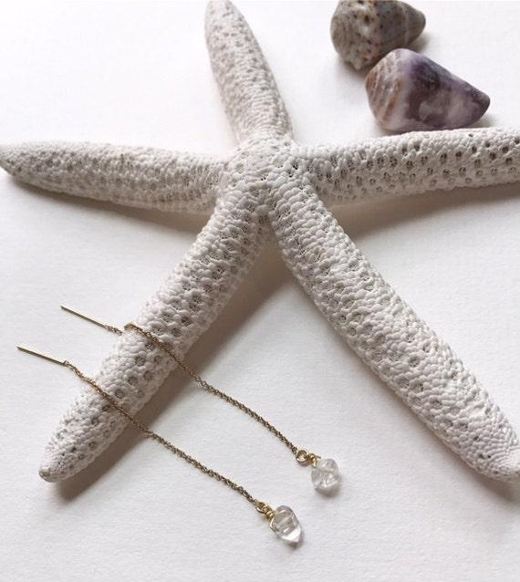 14KGF Herkimer Diamond Earrings