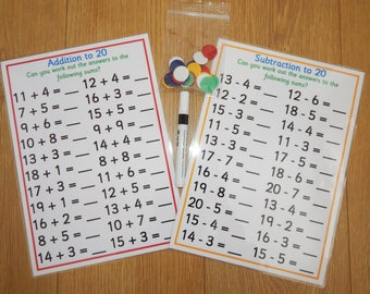 Numbers 0-20,  Addition, Subtraction, Laminated Reusable worksheets, EYFS, KS1, Numeracy, maths, teaching resource, educational, learning