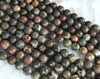 Rainforest Jasper, faceted 6mm, full strand, Jasper gemstone beads, green Jasper, gemstone 6mm, Rain forest Jasper, 6mm green jasper, DIY