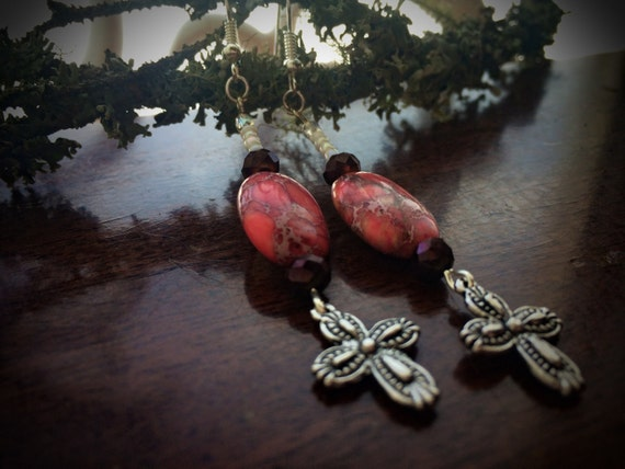 Genuine Aquaterra Earth Stones with Cross Charms