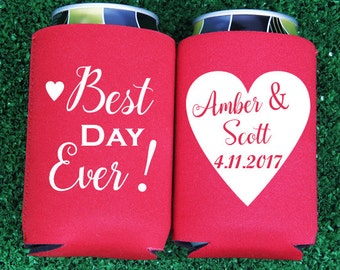 Custom Wedding Can Cooler, Wedding Favor - Best Day Ever