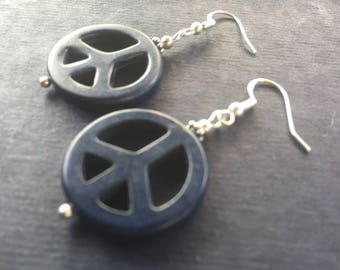 925 Sterling Silver Natural Gemstone Midnight Blue Turquoise Peace Sign Earrings