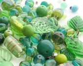 60+ Glass Beads Mix, Bead Soup, Green Mixed Colors, Mixed Shapes, Nature Colors, Round Barrel Leaf Beads, Bead Destash, Jewelry Beads