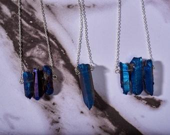 Blue Titanium Quartz Necklaces