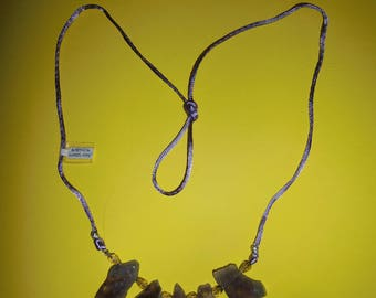 Necklace with amethyst and smoky quartz