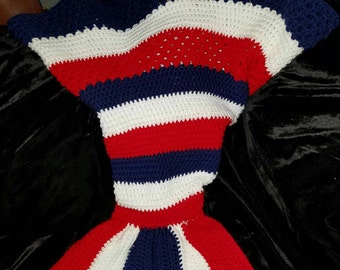 Red white and blue mermaid tail
