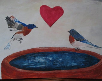 Bluebirds in love (Valentine's Day greeting card)