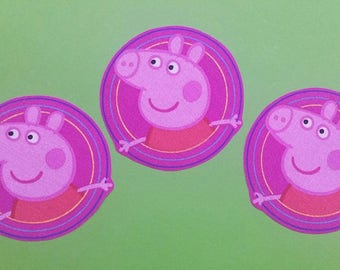 Set of 3 Peppa Pig iron on fabric motifs/embellishments/patches