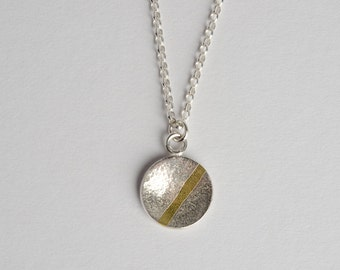 Sterling Silver and 18ct Gold Round Pendant