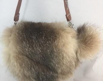 Sac à main en fourrure de renard chrystal