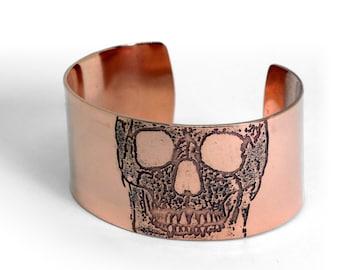 Copper Skull Bracelet | Copper Cuff 30mm | Etched Copper | Handmade | Gift | Etched Copper |  Bracelet | Wide Cuff | Bangle