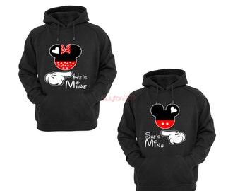 Mickey Head She's Mine He's Mine Couple Hoodies Couple Matching Hoodies Mickey And Minnie Mouse Couple Hoodies