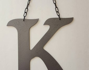 Letter K Metal Home Decor. Painted Hammer Gray. Home or  Office Decor. Wedding Decor.  Housewarming, Birthday Gift!  Ready to Ship!