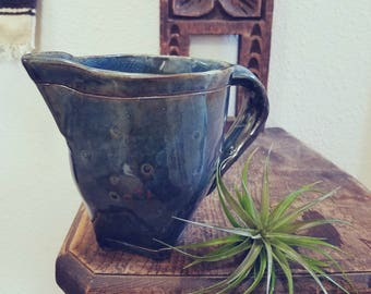 Handmade Blue Ceramic  Pitcher