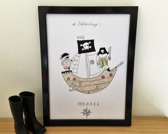 "Graphic poster for boy ""Choumi et Michou pirates"" - graphic design poster."