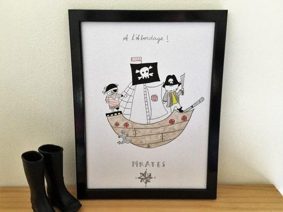 "Graphic poster ""Choumi et Michou pirates"" - graphic design poster."