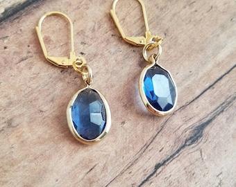Cerulean blue oval faceted earrings