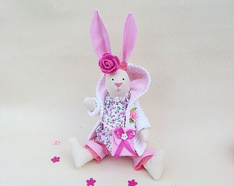 Tilda Doll, Fabric Bunny, Textile home decor, Soft Rabbit, Cloth Doll, Rag Doll, Collectible Doll,  Nursery Decor, Soft Interior Toy Hare