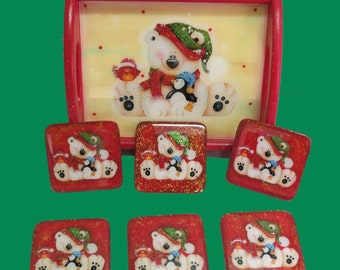 Christmas Resin Wood Tray And Coasters
