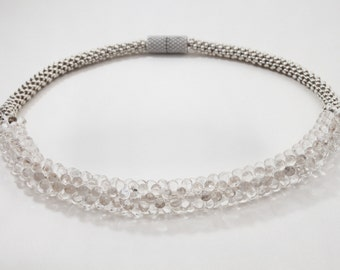Clear Beaded Necklace with Silver - Magnetic Clasp