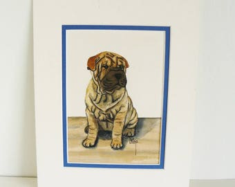 Puppy Art Shar Pei Pup Original Watercolor Painting by Linda Klop 1994 Dog Art