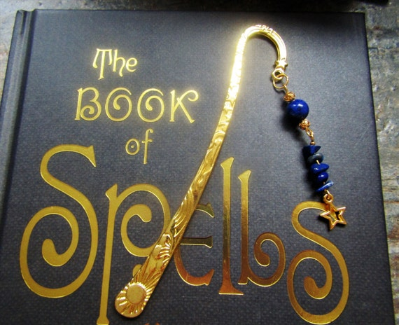Gold plated star Bookmark with Lapis lazuli, Star bookmark, Natural Lapis lazuli bookmark, Pretty bookmark, Unique bookmark, Gift for her
