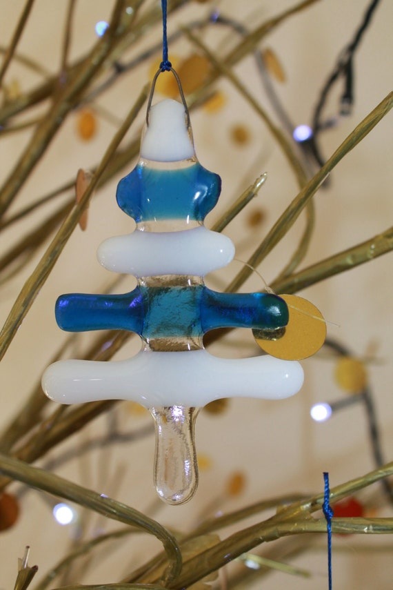 Set of 5 - Blue & White Fused Glass Christmas Trees