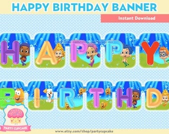 80% OFF SALE Happy Birthday Banner Bubble Guppies - Instant Download - PDF Files - High Resolution - Holiday Party
