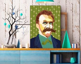 "Portrait ""Friedrich"" - Tribute To Friedrich Nietzsche - FRAMED ART, Literature, iconArt, Personalized Gift, Name, Book Lover, Gift, For Men"