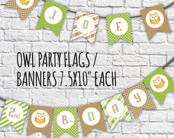 Owl Banners,Happy Birthday Banner, Owl Banner Flags, Owl Theme Birthday Banner, Owl Party Decor, Birthday Bunting Banner