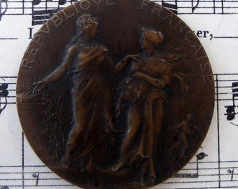 Large Antique French Art Nouveau Bronze Medal signed c1905