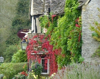 English Cottage, Canvas or Photo Print, Cotswolds, United Kingdom, England, Countryside, flowers, inn, wall art