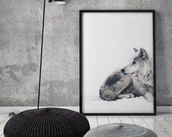 Arctic Wolf, Winter Art Print, Wolf Print, Printable Art, Digital Download, Wolf, Snow Print, Wolves, Fox, Scandinavian Art, Wall Decor,
