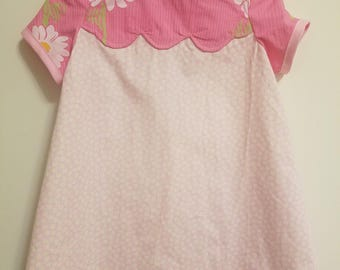 Children's 2T dress - pink with flowers;  vintage inspired