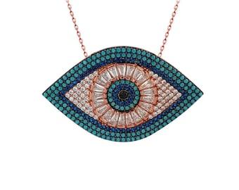 925K Sterling Silver Evil Eye Necklace Turkish Evil Eye Necklace New Design Evil Eye Necklace Turkish Jewelry Huge Tear Evil Eye