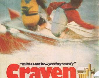 1970s Craven Mild Cigarette Advertising Retro Magazine Ad
